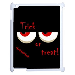 Halloween  trick Or Treat    Monsters Red Eyes Apple Ipad 2 Case (white) by Valentinaart
