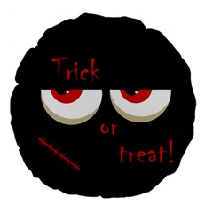 Halloween  trick Or Treat    Monsters Red Eyes Large 18  Premium Flano Round Cushions