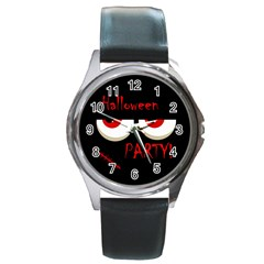 Halloween Party   Red Eyes Monster Round Metal Watch by Valentinaart