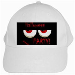 Halloween Party   Red Eyes Monster White Cap by Valentinaart