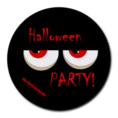Halloween Party   Red Eyes Monster Round Mousepads by Valentinaart