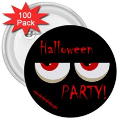 Halloween Party   Red Eyes Monster 3  Buttons (100 Pack)  by Valentinaart
