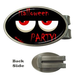 Halloween Party   Red Eyes Monster Money Clips (oval)  by Valentinaart
