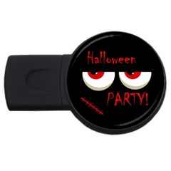 Halloween Party   Red Eyes Monster Usb Flash Drive Round (2 Gb)  by Valentinaart