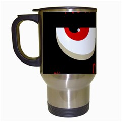 Halloween Party   Red Eyes Monster Travel Mugs (white) by Valentinaart