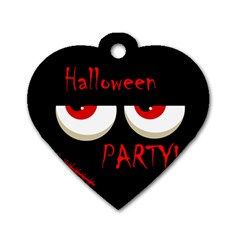Halloween Party   Red Eyes Monster Dog Tag Heart (one Side) by Valentinaart