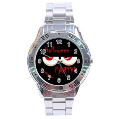 Halloween Party   Red Eyes Monster Stainless Steel Analogue Watch by Valentinaart