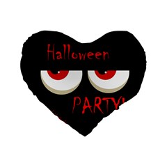 Halloween Party   Red Eyes Monster Standard 16  Premium Flano Heart Shape Cushions by Valentinaart
