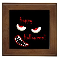 Happy Halloween   Red Eyes Monster Framed Tiles by Valentinaart
