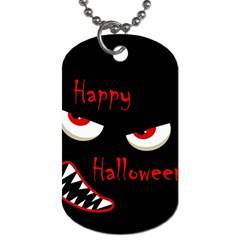 Happy Halloween   Red Eyes Monster Dog Tag (one Side) by Valentinaart