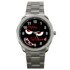 Happy Halloween   Red Eyes Monster Sport Metal Watch by Valentinaart
