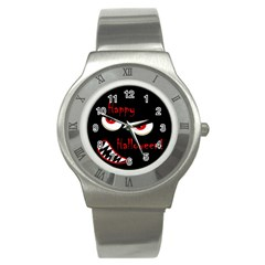 Happy Halloween   Red Eyes Monster Stainless Steel Watch by Valentinaart