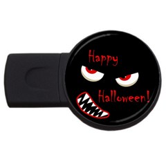 Happy Halloween   Red Eyes Monster Usb Flash Drive Round (4 Gb)  by Valentinaart