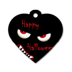 Happy Halloween   Red Eyes Monster Dog Tag Heart (one Side) by Valentinaart