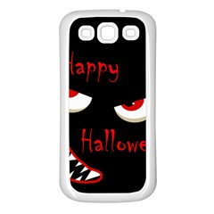 Happy Halloween   Red Eyes Monster Samsung Galaxy S3 Back Case (white) by Valentinaart