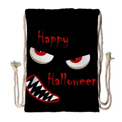 Happy Halloween   Red Eyes Monster Drawstring Bag (large)