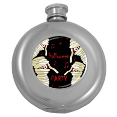 Halloween Mummy Party Round Hip Flask (5 Oz) by Valentinaart