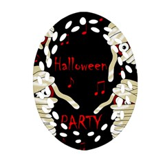 Halloween Mummy Party Oval Filigree Ornament (2 Side)  by Valentinaart