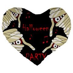 Halloween Mummy Party Large 19  Premium Flano Heart Shape Cushions by Valentinaart
