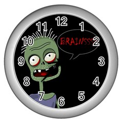 Halloween Zombie Wall Clocks (silver)  by Valentinaart