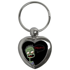 Halloween Zombie Key Chains (heart)  by Valentinaart
