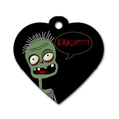 Halloween Zombie Dog Tag Heart (two Sides) by Valentinaart
