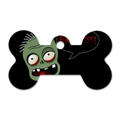 Halloween Zombie Dog Tag Bone (two Sides) by Valentinaart
