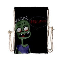 Halloween Zombie Drawstring Bag (small) by Valentinaart