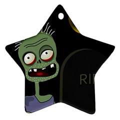 Halloween Zombie On The Cemetery Ornament (star)  by Valentinaart