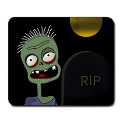 Halloween Zombie On The Cemetery Large Mousepads by Valentinaart