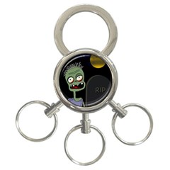 Halloween Zombie On The Cemetery 3 Ring Key Chains by Valentinaart