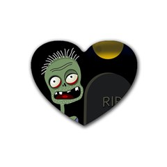 Halloween Zombie On The Cemetery Rubber Coaster (heart)  by Valentinaart