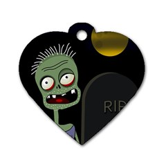 Halloween Zombie On The Cemetery Dog Tag Heart (one Side) by Valentinaart