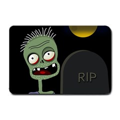 Halloween Zombie On The Cemetery Small Doormat  by Valentinaart