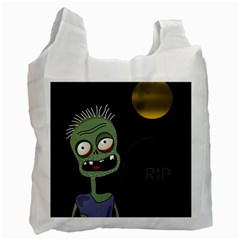 Halloween Zombie On The Cemetery Recycle Bag (one Side) by Valentinaart