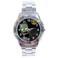 Halloween Zombie On The Cemetery Stainless Steel Analogue Watch by Valentinaart