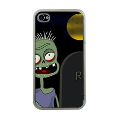 Halloween Zombie On The Cemetery Apple Iphone 4 Case (clear) by Valentinaart