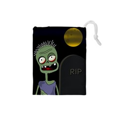 Halloween Zombie On The Cemetery Drawstring Pouches (small)  by Valentinaart