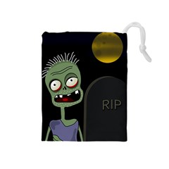 Halloween Zombie On The Cemetery Drawstring Pouches (medium)  by Valentinaart