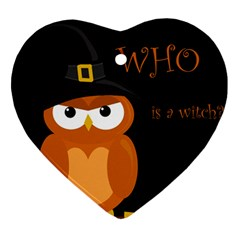Halloween Witch   Orange Owl Ornament (heart)
