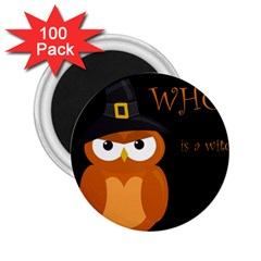 Halloween Witch   Orange Owl 2 25  Magnets (100 Pack)  by Valentinaart