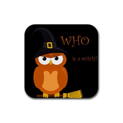 Halloween Witch   Orange Owl Rubber Square Coaster (4 Pack)