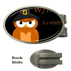 Halloween Witch   Orange Owl Money Clips (oval)  by Valentinaart