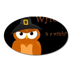 Halloween Witch   Orange Owl Oval Magnet by Valentinaart