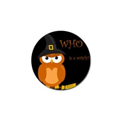 Halloween Witch   Orange Owl Golf Ball Marker (4 Pack) by Valentinaart