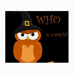 Halloween Witch   Orange Owl Small Glasses Cloth
