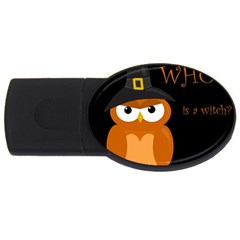 Halloween Witch   Orange Owl Usb Flash Drive Oval (4 Gb)  by Valentinaart