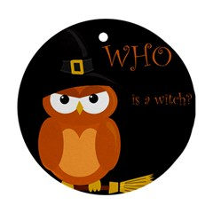 Halloween Witch   Orange Owl Round Ornament (two Sides)  by Valentinaart