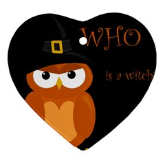 Halloween Witch   Orange Owl Heart Ornament (2 Sides) by Valentinaart