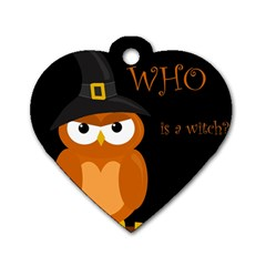Halloween Witch   Orange Owl Dog Tag Heart (one Side) by Valentinaart
